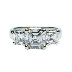 Asscher Cut GIA 1.47ct Diamond Three-Stone Ring