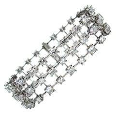 Cushion and Asscher Diamond Triple Row Bracelet