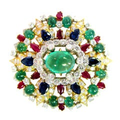 David Webb Diamond, Ruby, and Emerald Brooch