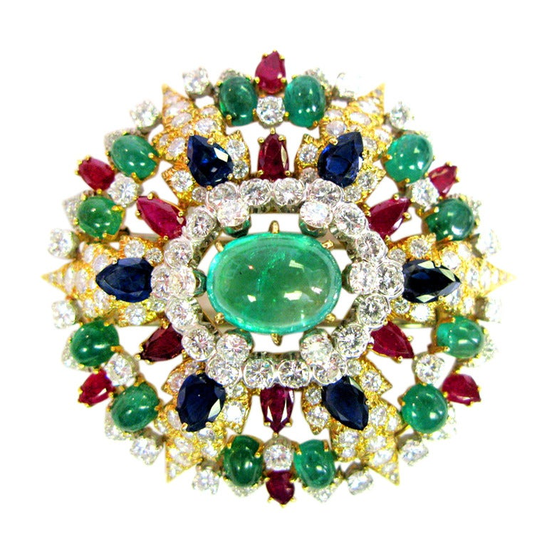 David Webb Diamond, Ruby, and Emerald Brooch  For Sale