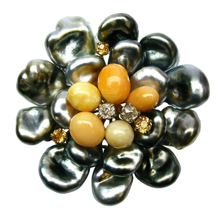 Pearl and Diamond Flower Brooch