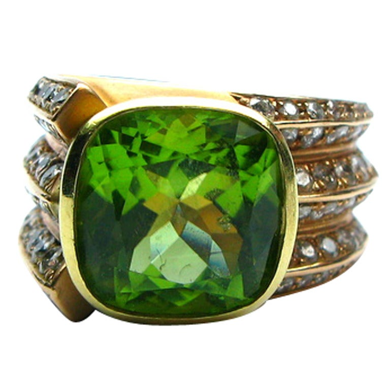 Peridot and Diamond Ring For Sale