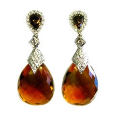 Natural Fancy Brown Diamond and Pear Citrine Earrings