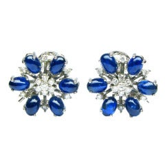 Diamond and Sapphire White Gold Earrings