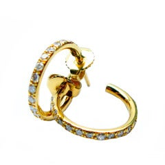 Diamond and Yellow Gold Hoops