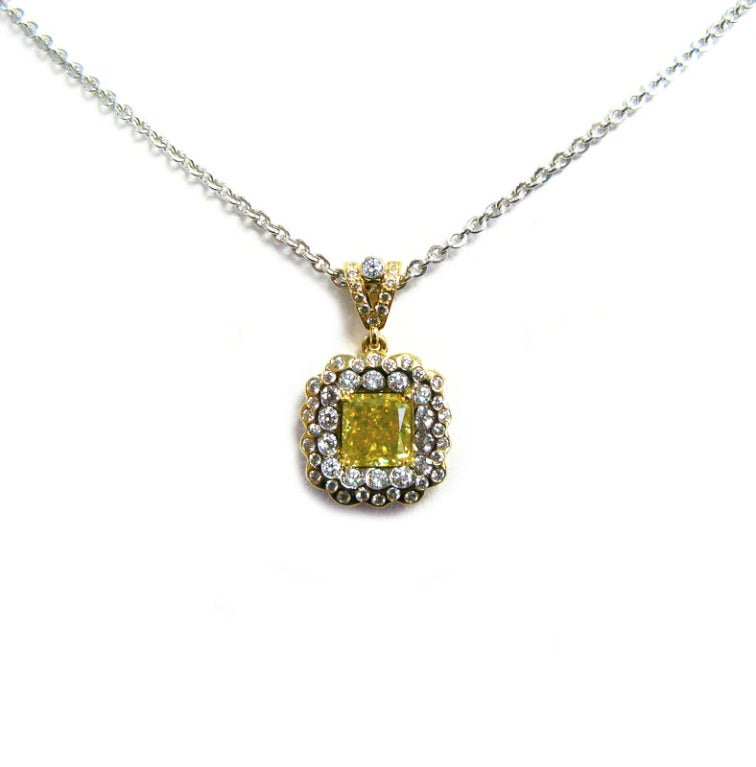 1.68 carats Fancy Vivid Green Yellow VVS2 Radiant Diamond ...