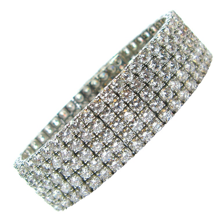 Perfect 5-Row Diamond Mesh Bracelet in Platinum 1