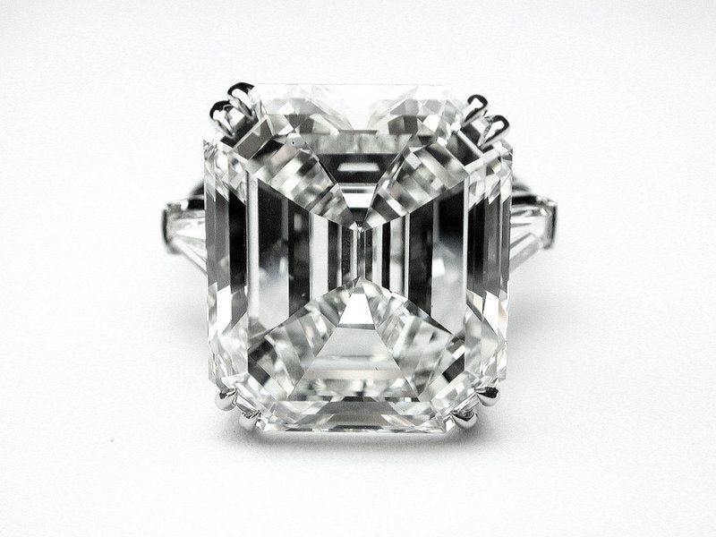 17.95ct Emerald Cut Diamond in Classic Ring with side Baguettes image 2