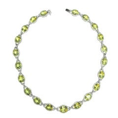 Yellow Beryl and Diamond Necklace