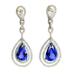 19.08 carats Tanzanite and Diamond Drop Earrings