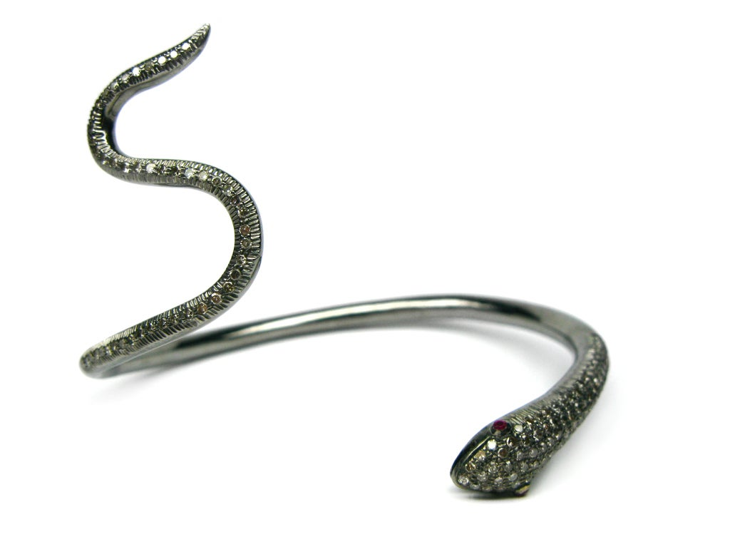 Contemporary Ruby Diamond Snake Bracelet For Sale