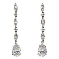 Pear Diamond Drop Earrings