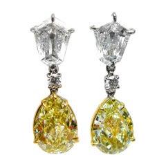 Pear and Kite Fancy Light Yellow Diamond Earrings