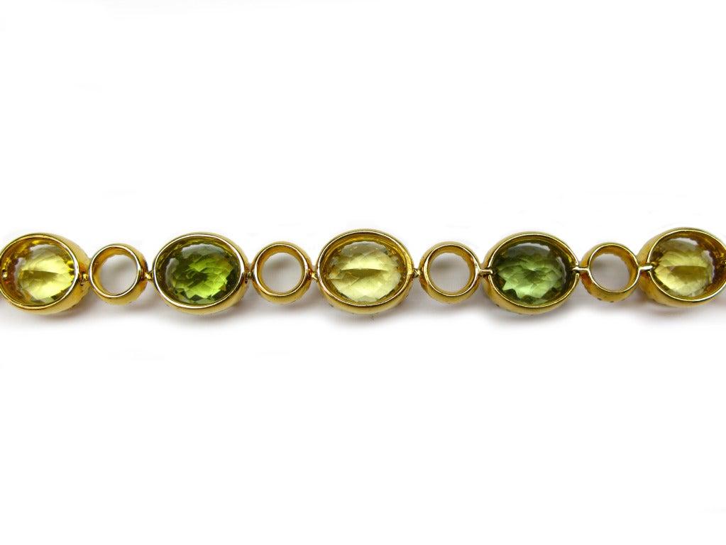 Contemporary Lemon Quartz, Green Tourmaline, and Diamond Necklace For Sale