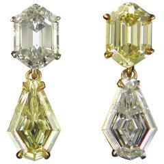 Yin Yang Yellow and White Diamond Kite Earrings
