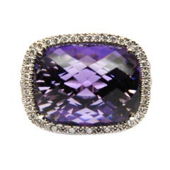 Amethyst, Diamond and Pink Sapphire Cocktail Ring