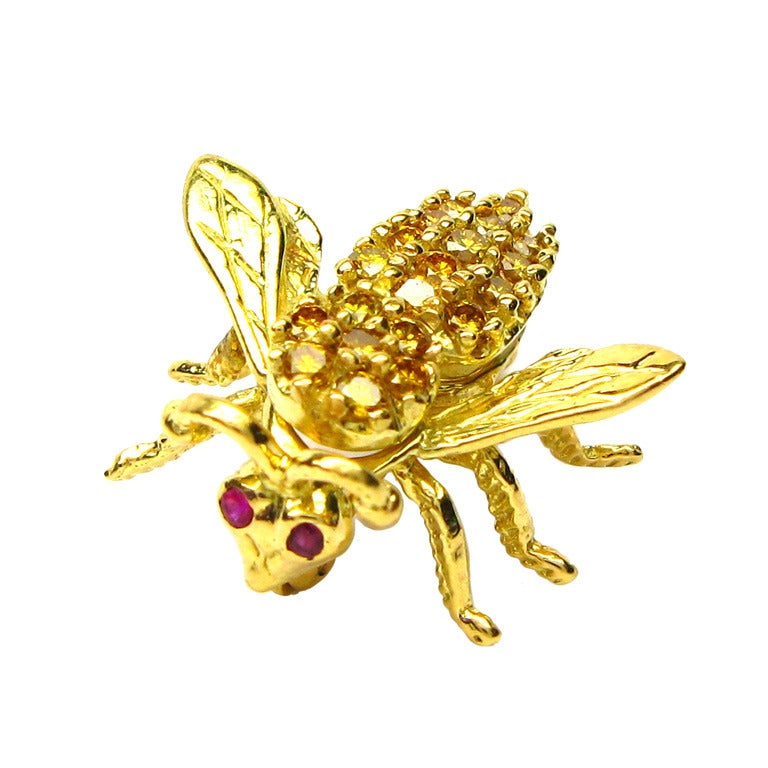 Yellow Diamond and Ruby Bee Pin