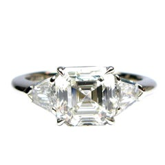 2.19 Carat F VS1 GIA  Asscher Cut Diamond Ring