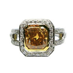 2.01 Carat GIA Natural Fancy Cognac Color Radiant Diamond Frame Ring