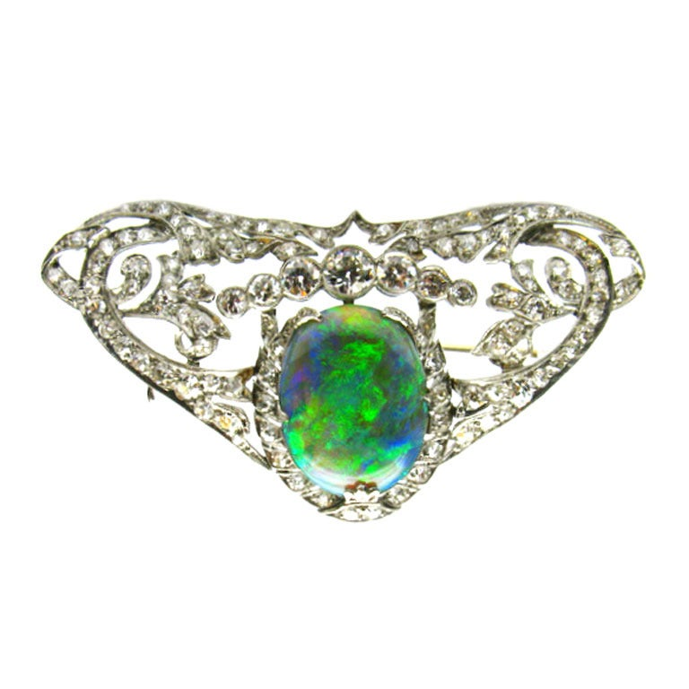 Art Deco Opal Diamond Pin