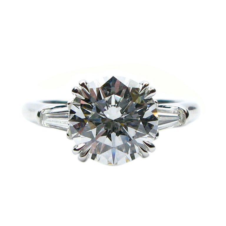 2.34Ct F VS1 Round Brilliant Harry Winston Diamond Ring