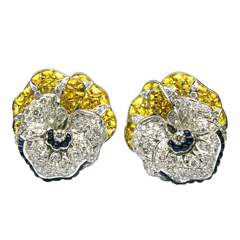 Sapphire Diamond Pansy Earrings
