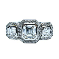 Three Stone Asscher Cut Diamond Ring 2.31 carats total weight GIA