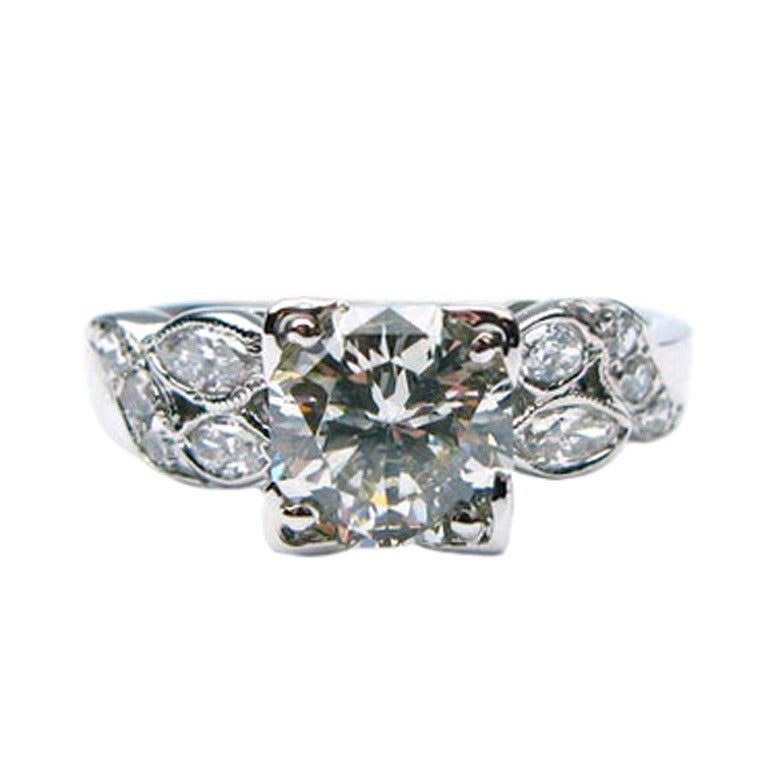 1.22 Carat M SI Round Brilliant Art Deco Diamond Ring