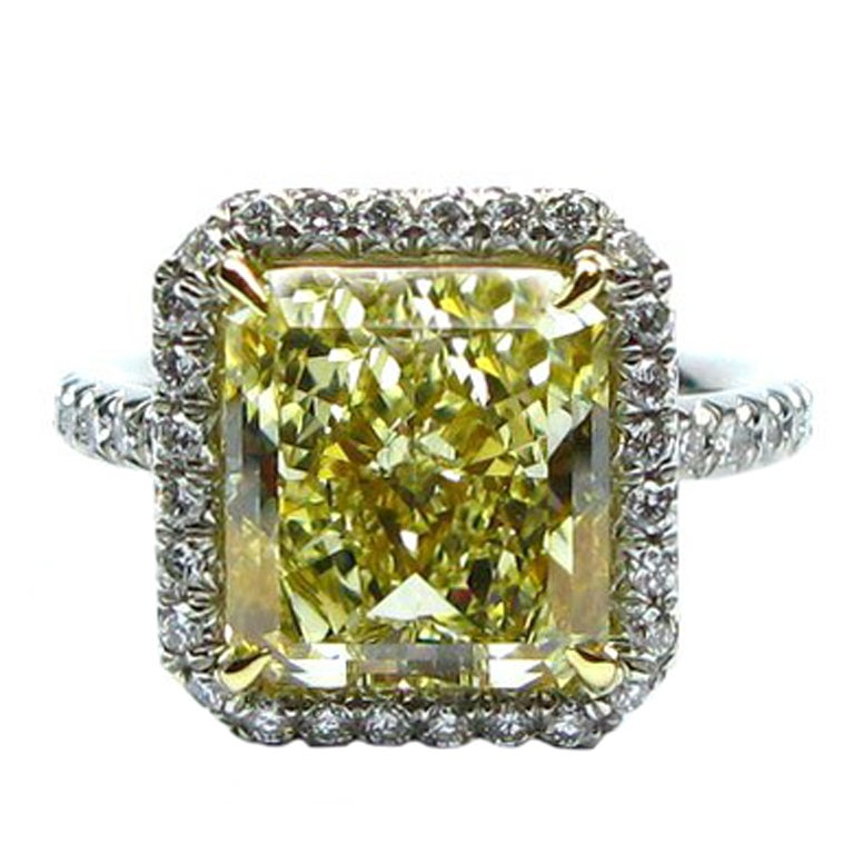 6.06ct GIA Fancy Yellow VS1 Radiant Diamond Frame Ring