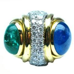 DAVID WEBB  Sapphire and Emerald Ring