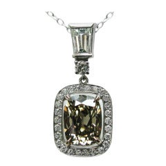 2.69 carats Orange Brown Cushion Diamond Frame Pendant