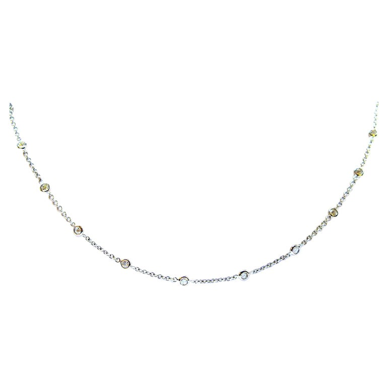 3.28 Carat Total Diamonds by the Yard White Gold Necklace
