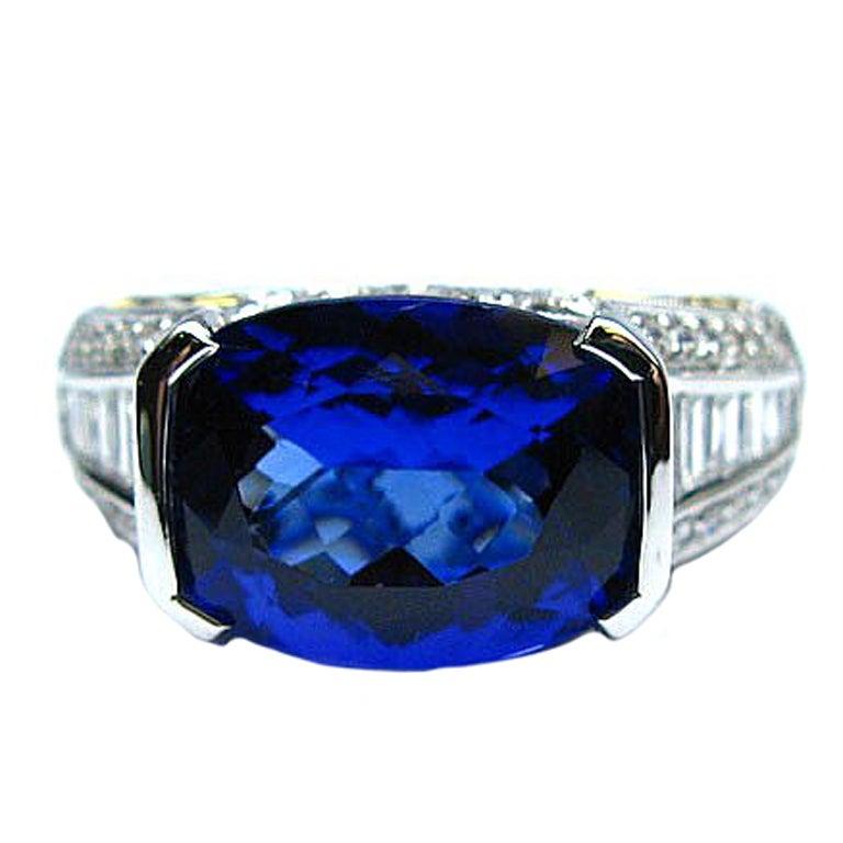4.10 Carat Tanzanite and Diamond Ring 18k White Gold
