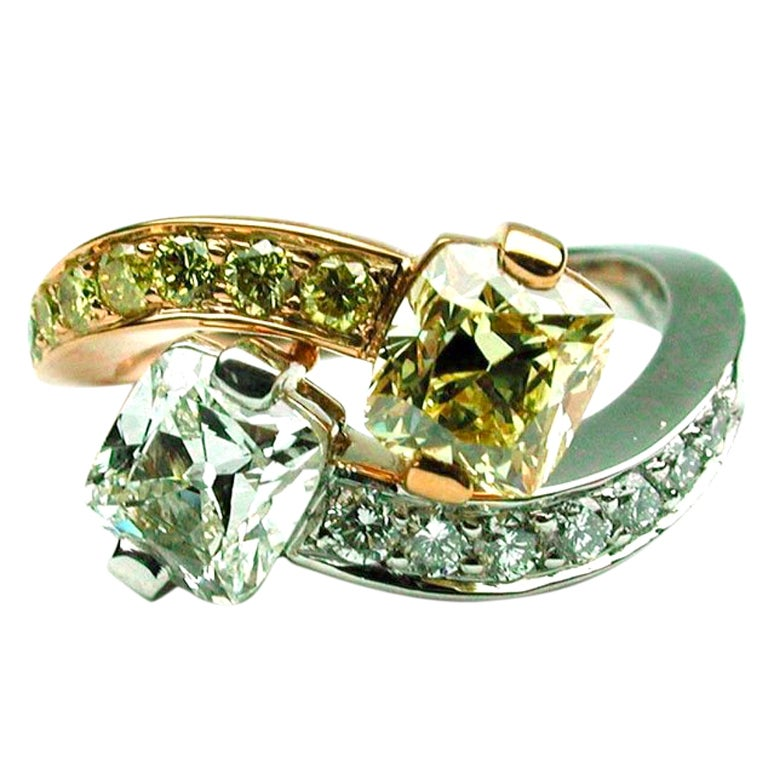 2.74 carats GIA Fancy Yellow and White Diamond Crossover Ring