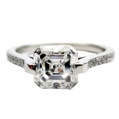 1.72 carat GIA E VS2 Asscher Cut Diamond Ring