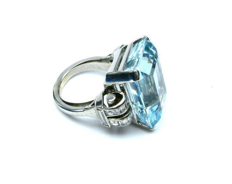 emerald cut aquamarine and ring at 1stdibs