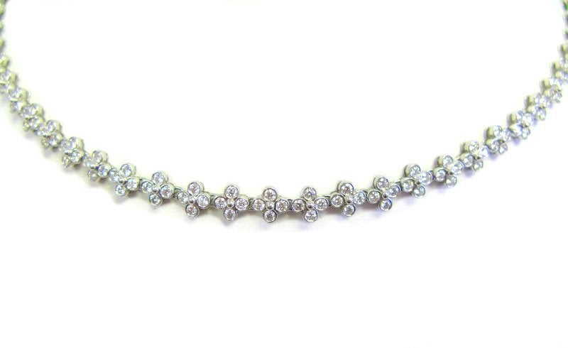 Contemporary TIFFANY & CO Diamond and Platinum Lace Necklace For Sale
