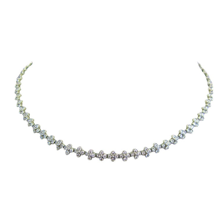 TIFFANY & CO Diamond and Platinum Lace Necklace For Sale
