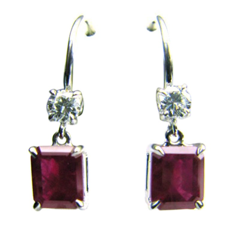 Ruby and Diamond Leverback earrings For Sale