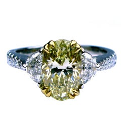 1.52ct GIA Fancy Yellow VVS2 Oval and Halfmoon Ring