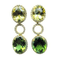 Lemon Quartz, Green Tourmaline and Diamond Earrings
