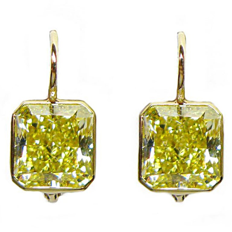 6.25 carats GIA Fancy Intense Yellow VS Diamond Wire Earrings