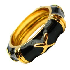 Black Enamel and Yellow Gold Band