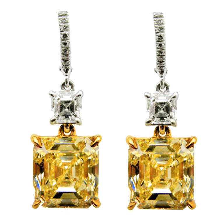 10.83 carats GIA Fancy Yellow Asscher cut Diamond Drop Earrings