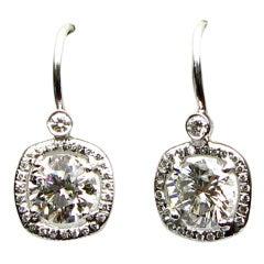 2.59 carats I SI Round Brilliant Diamond Frame Earrings