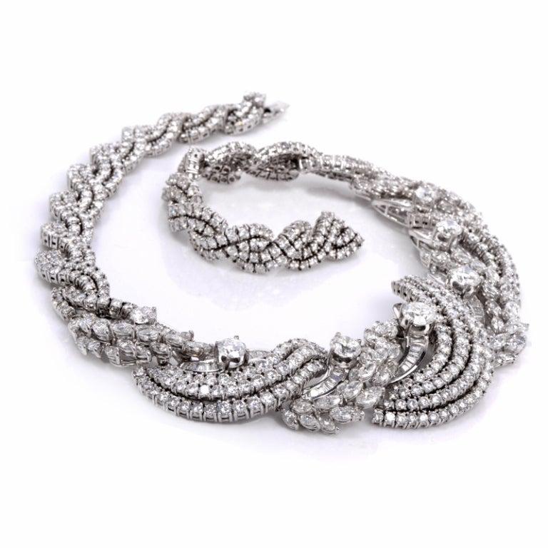 Impressive Diamond Scroll Formal Necklace 2