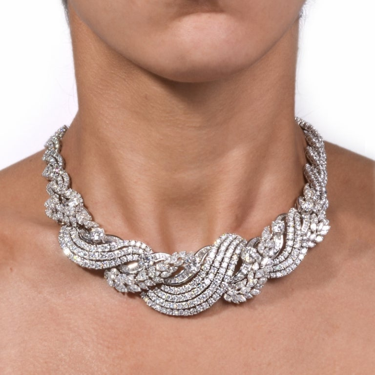Impressive Diamond Scroll Formal Necklace 6