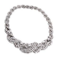 Impressive Diamond Scroll Formal Necklace