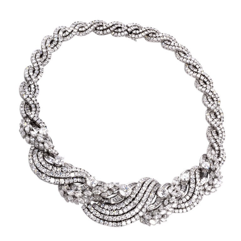 Impressive Diamond Scroll Formal Necklace 1