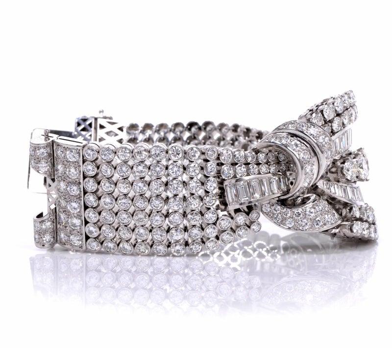 1950s Diamond Wide Platinum Bracelet image 2